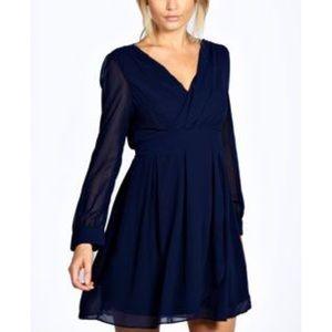 Boohoo navy chiffon long sleeve mini dress